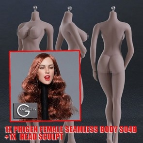Phicen Female Seamless Body Large Breast - Pale Series - S04B + Head Sculpt mit Zunge