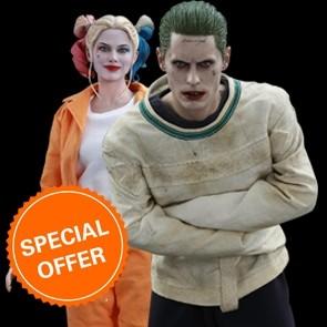 Hot Toys - Joker Purple Arkham Asylum + Harley Quinn Prisoner Version + Baseballschläger Kugelschreiber - Suicide Squad